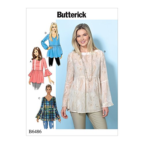 Butterick Patterns Misses' Loose-Fitting/Gathered Waist Pullover Tops With Bell Sleeves, Large/X-Large/XX-Large