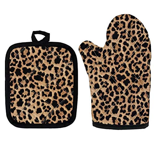 GOSTONG Cool Leopard Print Microwave Oven Mitts and Pot Holders Cover Set Heat Insulation Blanket Mat Pad Mittens Glove Baking Pizza Barbecue BBQ Accessories Home Kitchen Decor