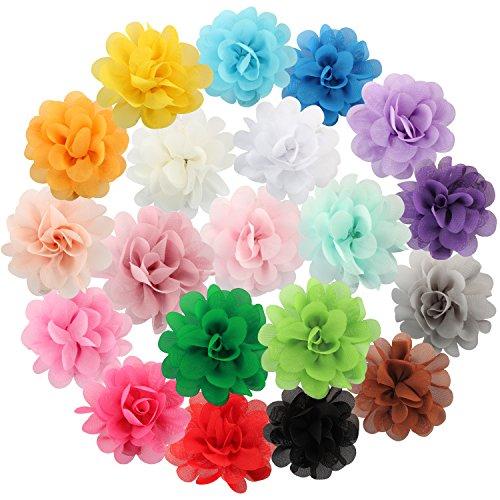 Discoball, 20fermagli per capelli con fiori in chiffon multicolore, accessori per capelli, per bambine e ragazze