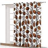 Rideau de fenêtre de football américain Design classique Ballons de rugby style dessin animé Rideaux imprimés, panneau simple 203,2 x 274,3 cm, pour décoration d'intérieur Caramel Blanc rubis