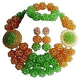 laanc 3filas verde y dorado champán boda de Nigeria África Juego de collar con pulsera con cuentas de cristal para pulsera cuentas pendientes nueva a000148