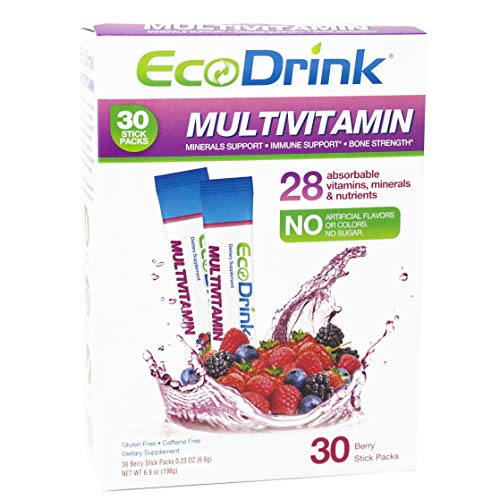 EcoDrink Complete Multivitamin Mix Drink Berry Flavor  30 Count Refill Pack Bottle not included