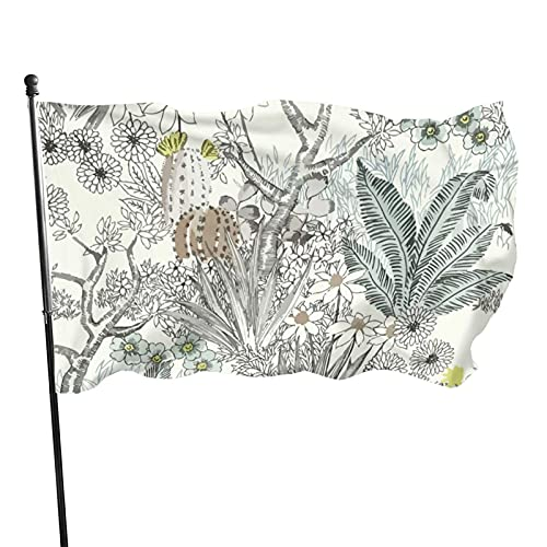 GOSMAO Bandera de jardín Floración Desierto Color Vivo y Resistente a la decoloración UV Bandera de Patio de Doble Costura Bandera de Temporada Banderas de Pared 150X90cm