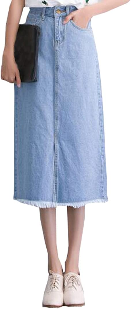 MYtodo Womens Casual A-line Pockets Denim Long Skirt