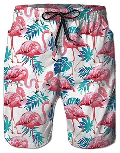 AIDEAONE Herren Badehose Freizeit Sommer Badeshorts Flamingo Grafik Strand Surf Shorts M