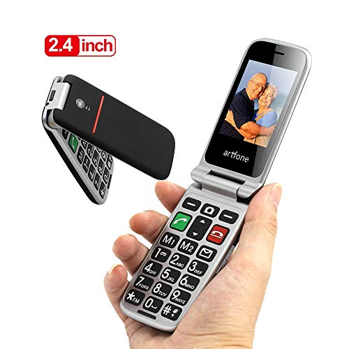 artfone CF241A Seniorenhandy ohne Vertrag | Dual SIM Handy mit Notruftaste | Rentner Handy große Tasten | 2G GSM Klapphandy| Großtastenhandy mit Ladegerät und Kamera | 2,4 Zoll Farbdisplay(Schwarz)