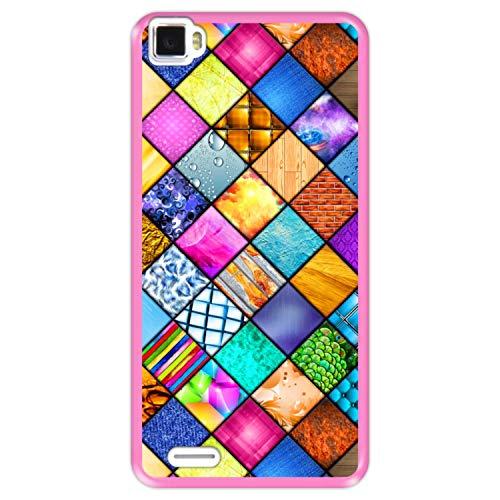 Hapdey Funda Rosa para [ Cubot X17 ] diseño [ Mosaico gráfico, decoración Cuadrada con Textura ] Carcasa Silicona Flexible TPU