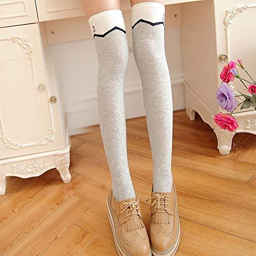 Kniestrümpfe für Mädchen 3Pcs Damen über Knie-Schenkel-Socken Kniehohe Socken Hohe Oberschenkel Strümpfe hohe Stiefel-Schenkel-Damen-Socken Wellenmuster Kniestrümpfe ( Color : Gray , Size : One Size )