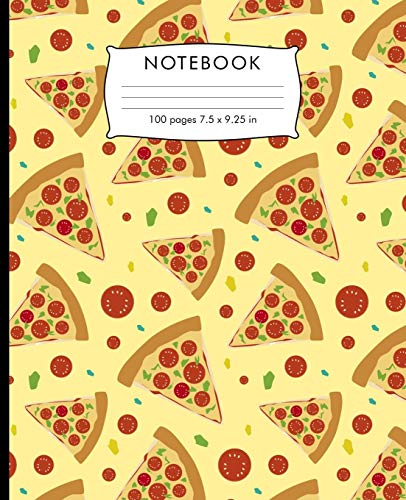 Notebook: Pizza pattern Composition Notebook. 100 pages College Ruled Book 7.5 x 9.25 in journal for elementary students, teachers, girls, boys, kids, college students.