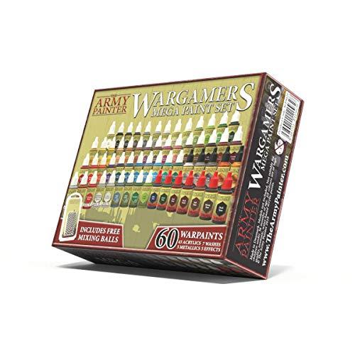 The Army Painter   Wargamers Mega Paint Set 60   Colori per Miniature   60 Colori acrilici e 100 Palline da miscelazione per Wargames, Roleplaying e Pittura di Miniature   Colori per hobbistica