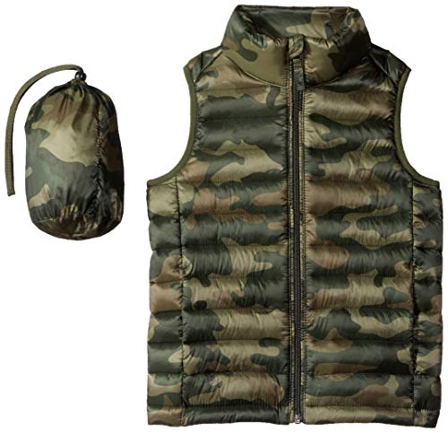 Amazon Essentials Boys' Lightweight Water-Resistant Packable Puffer Vest, Camo Print, X-grande