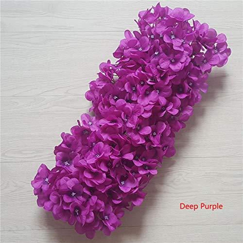 NVT Künstliche Hochzeit Blumen Reihen Hortensien Bogen Tür Fake Blume Dekorative Reihen Fenster Hochzeit Dekoration, deep purple, 48cmX23cm
