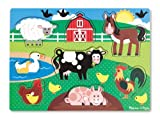 Melissa & Doug- Farm Peg Juego Puzzle, Multicolor (19050)