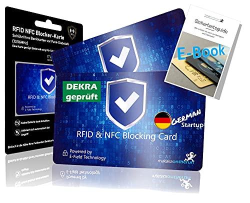 MakakaOnTheRun® RFID Blocker Karte 2 STK- DEKRA Geprüft I Maximale Datensicherheit Dank 360° RFID Schutz für Geldbörsen, EC- & Kreditkarte I Extra Dünne RFID Karte I NFC Schutz