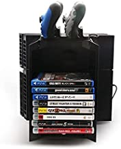 Vertical Stand for PS4, Businda Multifunctional Detachable Playstation 4 Console Vertical Stand & CD Game Disk Holder PS4 Controller Charging Station with Game Storage and Dualshock Charger