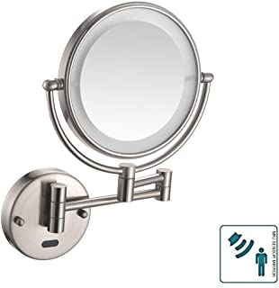 Makeup Mirror, Bathroom Mirror Shaving Mirrors Makeup Wall Mounted LED Illuminated Mirror 3X Magnifying Sensor Mirror for Hotel Vanity Health Two Swivel Surface Concealed Install