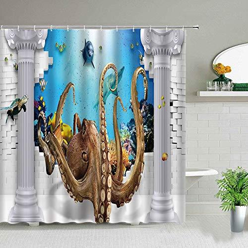 XCBN Cortinas de Ducha Impermeables con Estampado de Delfines de Dibujos Animados, diseño de Paisaje Marino, Cortina de baño, Pulpo, decoración de baño para el hogar, A4 180x200cm