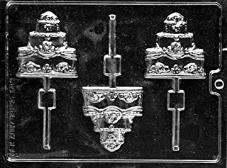 Cybrtrayd W059 Wedding Cake Lolly Chocolate Candy Mold with Exclusive Cybrtrayd Copyrighted Chocolate Molding Instructions