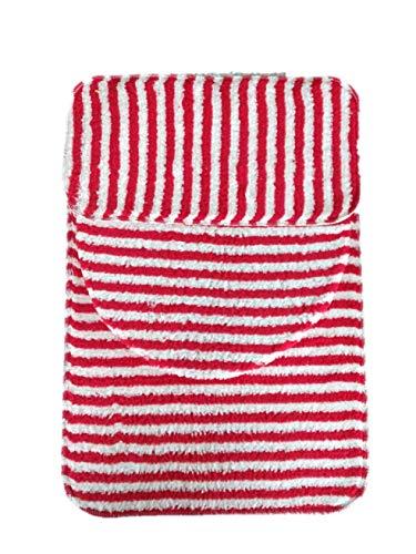 Juego de baño, antiderrapante, 3 Piezas, diseño Rayado (Rojo)