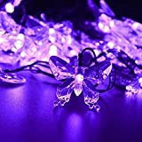 WONFAST Solar String Lights, Waterproof 16ft 20LED Butterfly Christmas Fairy Lights Decorative Lighting for Home Party Wedding Patio Garden Porch Balcony (Purple)