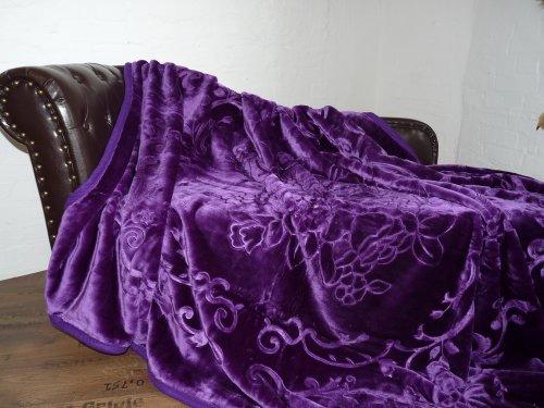 Natur-Fell-Shop Luxus Kuscheldecke Tagesdecke Decke lila violett 160x200cm