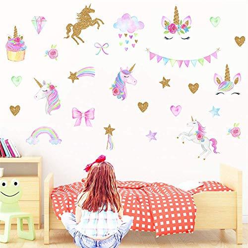 Leuke Cartoon Eenhoorn Muurstickers voor Kids Kamer Meisjes Slaapkamer Home Decor DIY Flamingo Dier Behang Muur Kunstmuurstickers