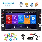 Android 10.0 Car Stereo Double Din GPS Navigation Head Unit in Dash Capacitive Touchscreen Car DVD Player Support FM/AM/RDS Autoradio Bluetooth SWC USB/SD WiFi Mirrorlink 1080P Video Backup Cam