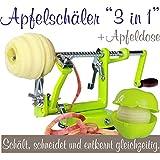 Made for us Éplucheur à pommes professionnel en aluminium avec vide-pomme et boîte à pomme Vert clair Manuel d'utilisation et 3 recettes allemandes (langue française non garantie)
