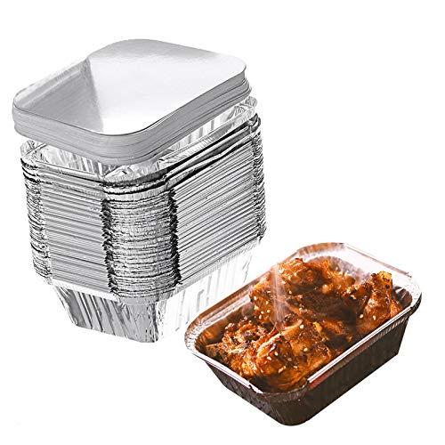 ConBlom Barquettes Aluminium Barbecue Plateaux avec Couvercle 30 Pièces 1000ml Grande Plateaux Jetables pour Barbecue Cuisson Grillage Cuisine Restauration