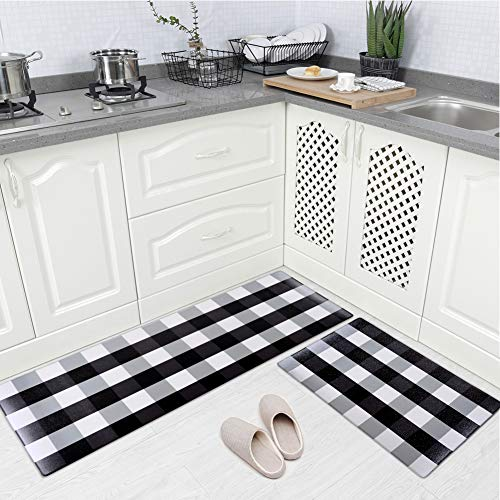 Carvapet 2 Pieces Comfort Anti-Fatigue Kitchen Standing Desk Mat Waterproof Decorative Ergonomic Floor Pad Kitchen Rug, Buffalo Check Plaid 18'x47'+18'x30'