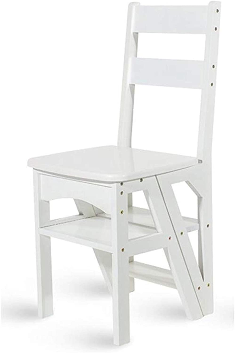 XB-ZDT Household Multi-function Step Stool, Bamboo Solid Wood Stool Folding Chair Dual-use Four-step Ladder Climbing Ladder High Ladder Step Stool Adult Step Stool (color   White)