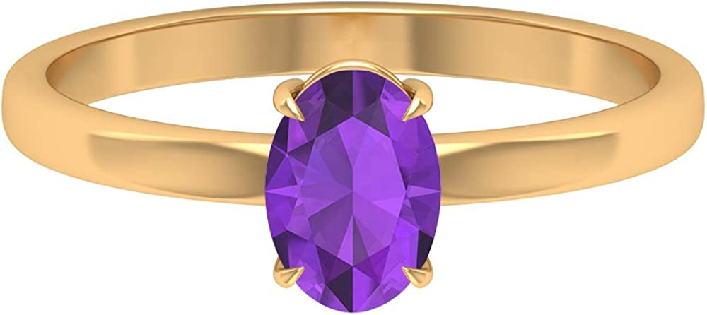 February Birthstone - 7X5 MM Oval Cut Amethyst Ring, Solitaire Engagement Ring, Simple Gold Wedding Ring (AAA Quality), 14K Gold