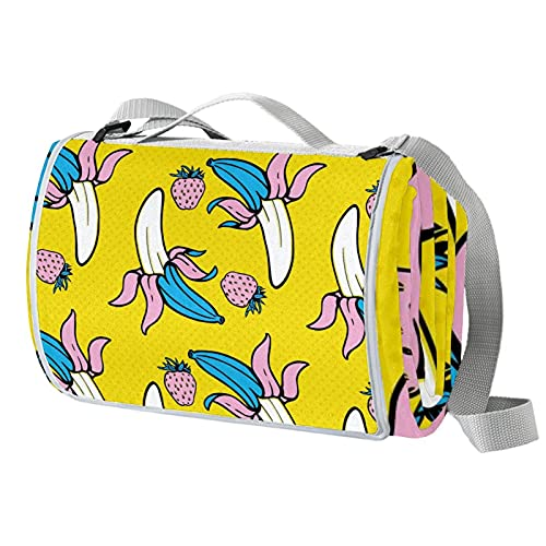 Manta de picnic portátil de 57 x 59 pulgadas, impermeable, para playa, camping, césped, música, festival, arte plátano, fresas, patrón amarillo
