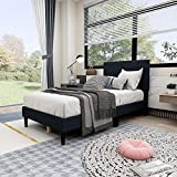 Beautiplove Twin Size Upholstered Panel Bed Frame with Headboard,Box Spring Needed/Mattress Foundation/Wood Slat Support,Black