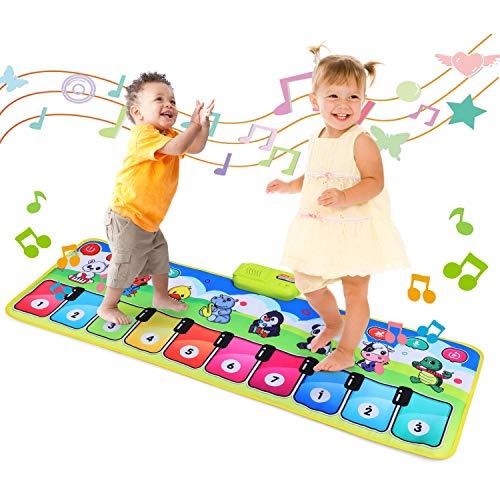 Fascol Piano Matte, Musikmatte für Kinder ab 1-5 Jahre, Klaviermatte, Tanzmatte Kinder mit 8 Musikinstrumente und 19 Tasten, Lernspielzeug für Kleinkinder, Bunt (110 X 37 cm)