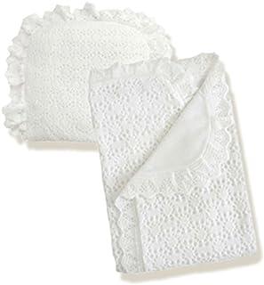 Hand crocheted BABY/'S Couverture//Châle//Siège Voiture//landau//berceau blanc rose et gris