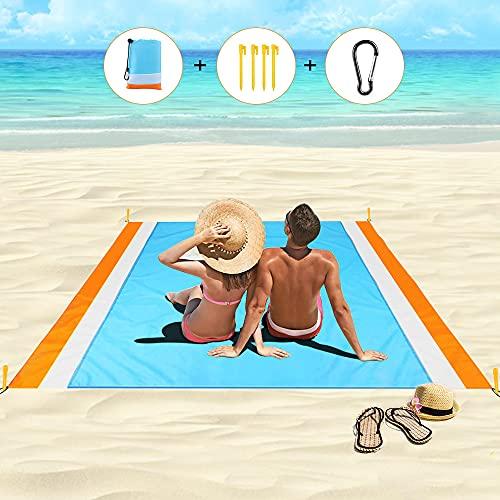 laxikoo Picknickdecke, wasserdichte Stranddecke 210 x 200 cm Outdoor Sandabweisende Strandmatte mit Tasche und 4 Befestigungsecken, Tragbar Campingdecke Ideal für Picknick, Camping, Strand (Orange)
