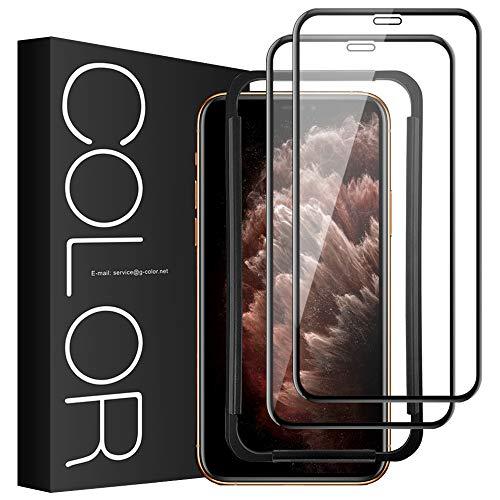 Pellicola Vetro iPhone 11 Pro Max/XS Max, G-Color [2 Pezzi] Pellicola 3D Vetro Antigraffio [con lo Strumento dell'Installazione] Facile da Installare Vetro Temperato per iPhone 11 Pro Max/XS Max