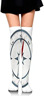 Minimalist Design Compass With Windrose Finding Your Way On The Sea Navigation Women's Fashion Over The Knee High Socks (60cm)