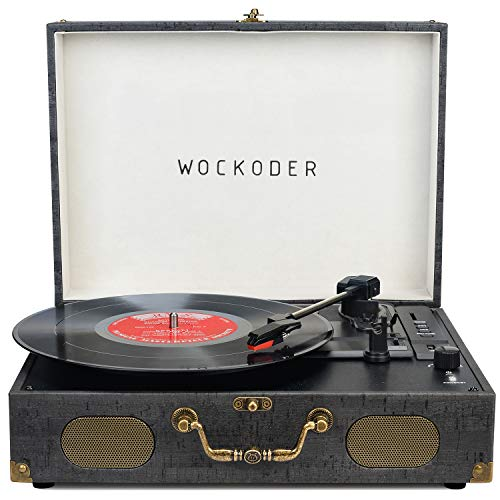 Record Player Vinyl player Turntable Bluetooth with USB Built in Stereo Speaker Suitcase Design Retro Vintage Wireless 3 Speed Vintage Belt-driven Phonograph Support SD RCA Out AUX in Retro Black