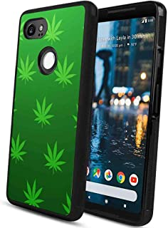 Phone Case Compatible Google Pixel 2 XL (2017) (6inch) Abstract Background Cannabis Green Leaves Marijuana Pattern Wallpaper Leaf