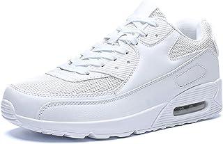 [Denidou] 厚底スニーカー白黒レディースメンズレースアップシューズ スニーカー通勤靴通学靴 スボーツスシューズエアクッション付きランニンシューズ23 cm-28.5cm