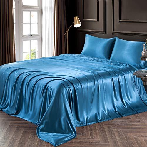 4 Pcs Satin Bed Sheet Set Best Hotel Quality Sheet Set High Thread Counts Satin Silky & Smooth Flat Sheets & Pillowcases Sets Fit Mattress Upto 24''Deep Pocket Teal Twin Bed Sheet Set
