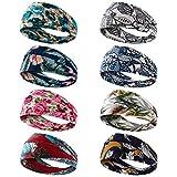 Dlala 8 Pack Headbands for Women Yoga Running Sports Headbands Elastic Non Slip Sweat Headbands Head Wrap Workout Headbands for Women (color B)
