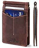 SERMAN BRANDS RFID Blocking Wallet Slim Bifold - Genuine Leather Minimalist Front Pocket Wallets for Men with Money Clip (Texas Brown Rogue)