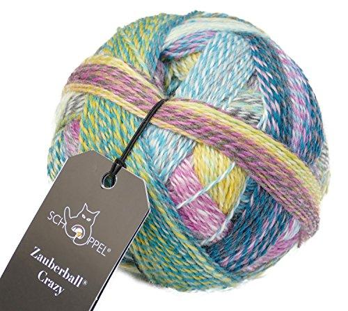 Schoppel Wolle Zauberball Crazy Fb. 2355 Gartenparty, Bunte Sockenwolle musterbildend mit Farbverlauf zum Stricken oder Häkeln