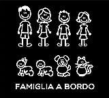 Pegatinas Familia–Juego completo–Familia a bordo–Color:Blanco–Family Stickers (Pegatinas Familia) para cristal coche