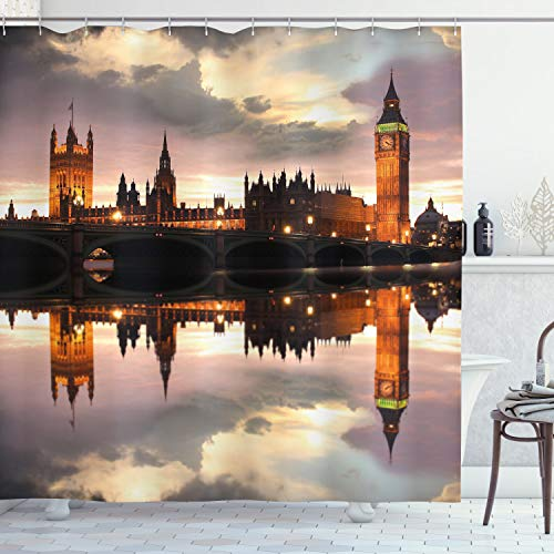 "Ambesonne Urban Shower Curtain, Surreal Evening at Big Ben London Historical Architecture British Town UK Scene, Cloth Fabric Bathroom Decor Set with Hooks, 70"" Long, Cinnamon Grey"