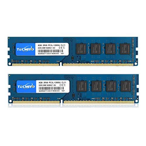 TECMIYO 16GB Kit (2x8GB) DDR3 / DDR3L 1600MHz UDIMM, PC3-12800 DIMM, PC3 / PC3L-12800U Non ECC Unbuffered 1.35V/1.5V CL11 2RX8 Dual Rank 240 Pin Desktop RAM Computer Memory Module. Buy it now for 62.99