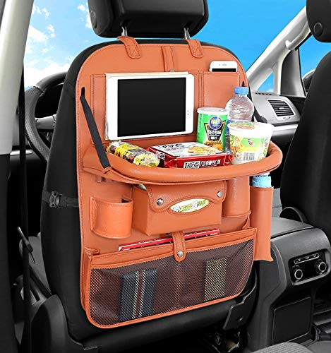 Auto Car Seat Back Organizer Pocket,Car Pocket Organiser with Tablet Ipad Holder Mobile Cellphones Tray for Kids Baby Travel PU Leather (PG16,no charger,with tray,orange)